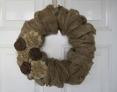 Burlap fabric used to make a decorative wreath