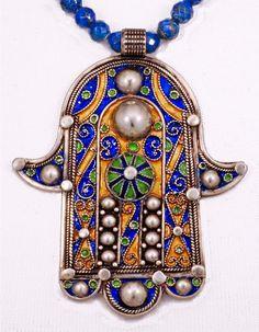 Splendid Moroccan Enamel Hamsa / Khamsa with by SilkRoadJewelry