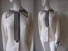 Vintage Gianni Versace Designer Vanilla Silk with Black Ruffle Print Detail and French Cuff Blouse Bust 40