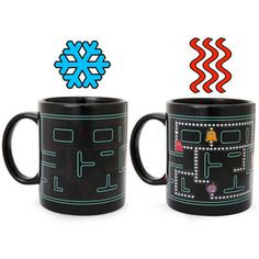 Normally the Pac Boy mug displays an empty maze. But add some kind of hot beverage and instantly the Pac Boy maze is filled with 8-bit style ghosts and energizers.