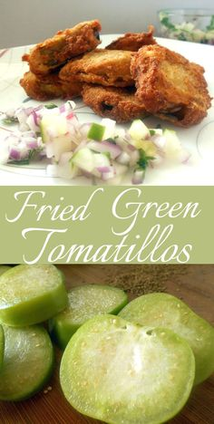I took this southern classic and made it with tomatillos.  This recipe includes an Indian Spice.  Carom seeds add a delicious spice to the recipe.  Served with a side of onion, cucumber and radish salsa.