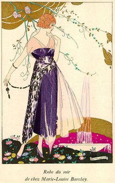 - Umberto Brunelleschi, Robe du Soir de Chez Marie-Louise Barclay Signed and hand coloured pochoir print from La Guirlande, one of the most exclusive of the Paris fashion publications (edition size Guirlande pochoirs are extremely rare as this. Art Deco Illustration, Fashion Illustration Vintage, Watercolor Illustration, Fashion Illustrations, Vintage Illustrations, Fashion Sketches, Vintage Images, Vintage Posters, Vintage Graphic