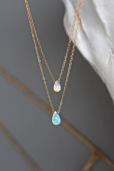 STYLE| Layered chains STONE| Tear drop Ethiopian Opals - Grade AAA Quality FINISH| 14k gold fill, 14k rose gold fill, sterling silver delicate chain LENGTH | 15 jewelry for women http://amzn.to/2jxzGM6