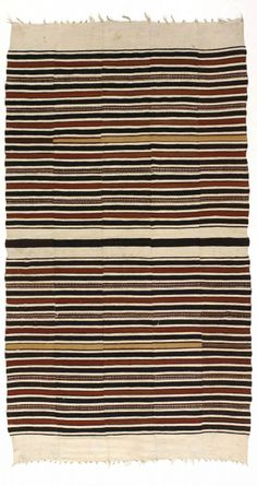 """Africa   Blanket  """"Mumuye"""" from the Fulani people of the Niger Bend region, Mali and Niger   Strip Weave,Cotton and wool, natural dyes   20th century"""