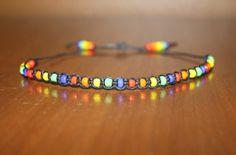 Adjustable Black Hemp Bracelet  Rainbow by MidwestTexanDesigns