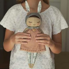 Here she is ❤️my new design doll the first one sweet and born to cuddle ❤️i truly believe you will like her ❤️her body is made from the linen she wears linen dress decorated with the embroidery wooden button and the cotton collar her bunny hat is deco Doll Crafts, Diy Doll, Sewing Crafts, Sewing Projects, Crochet Baby Hats, Crochet Dolls, Cotton Crochet, Tilda Toy, Fabric Toys
