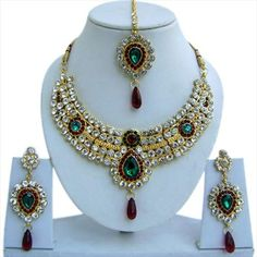 301666: Gold Rodium Polish Necklace set with Earring, Mang Tikka in Metal Alloy studded with Beads, CZ Diamond.