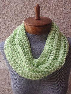 Hand knitted, pistache green cowl/infinity/circle scarf with sparkles in cotton/knitted green cowl scarf/long green cowl/women' s scarf/gift...