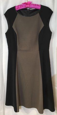 b8a9bf14 T Tahari Women's Dress A-Line Lined Sleeveless Black Taupe Size 12 #TTahari  #