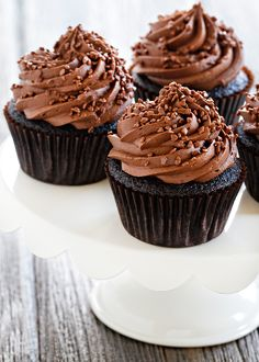 Double Chocolate Cupcakes are loaded with chocolate flavor. Add chocolate sprinkles for a chocolate trifecta!