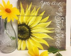 Sunflower Gifts, Sunflower Art, Sunflower Paintings, Pallet Painting, Painting On Wood, Rustic Painting, Art Furniture, Sunflower Kitchen Decor, Decoration Entree