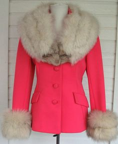 1960   Hot Pink Coat with Huge Fox Fur Collar and Cuffs by Lilli Ann