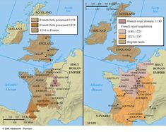 France before the Hundred Years War North Scotland, Oxford London, Middle Ages History, England Map, Cambridge England, Plantagenet, Historical Maps, North Sea, Britain