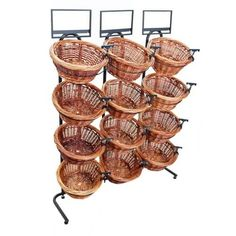 4 Tier 12 Round Willow Basket Display Rack | Wooden Store Displays
