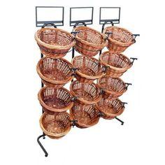 4 Tier 12 Round Willow Basket Display Rack | Wooden Store Displays