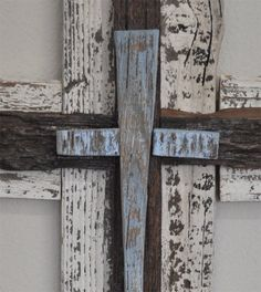 Baby blue rustic wood cross great for boys nursery or or shabby chic decor, western style cross