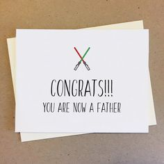 You are now a father. Made to order. sized card x Printed on white cover card stock. New Dads, Baby Cards, Mom And Dad, Card Stock, Handmade Items, Father, Bro, Prints, Cover