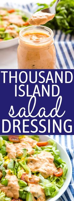 This Thousand Island Dressing is ultra tangy, sweet and creamy and it's so easy to make with simple pantry ingredients! It's the perfect secret sauce for all your favourite salads or sandwiches! Recipe from thebusybaker.ca! #thousandisland #saladdressing #salad #sauce #bigmacsauce #reubensandwichsauce #secretsauce #frysauce via @busybakerblog Best Salad Recipes, Salad Dressing Recipes, Salad Dressings, Sauce Recipes, Vegetarian Recipes, Light Recipes, Easy Recipes, Healthy Recipes, Healthy Cooking