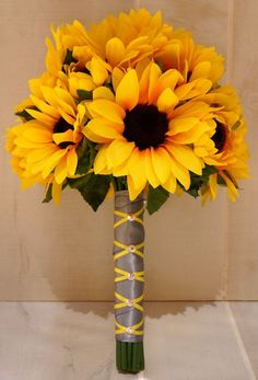 Sunflower Bridesmaid / Bridal Bouquet and Boutonniere by BouKeeps