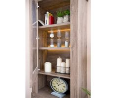 Vitrina 2 portas e 1 gaveta AREZZO - Conforama Bathroom Medicine Cabinet, 1, Top Drawer, Airing Cupboard, Doors, Setting Table, Cozy
