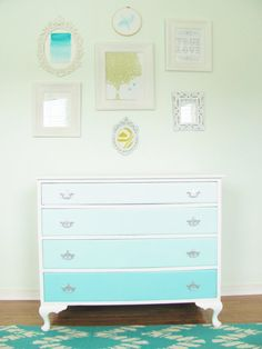 Ombre French Vintage Dresser, Turquoise Blue 4 Drawer Ombre and White Dresser, Hand Painted, Silver Hardware, Aqua Blue. thegoldennest (Etsy).