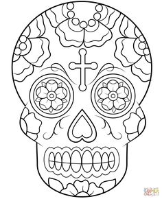 Sugar Skull coloring page from Sugar Skulls category. Select from ...
