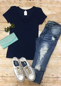 Ribbed Criss Cross Top: Navy from privityboutique