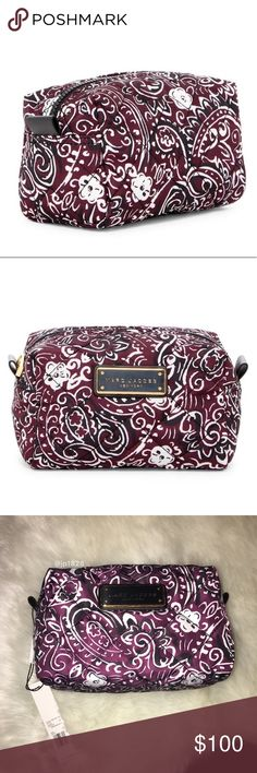 "NWT Marc Jacobs Quilted Bag Travel in style and keep your toiletries in line with this quilted paisley-printed travel pouch. This bag is nicely sized and can hold a ton of products! Quality made to last a long time! This would make a fabulous gift!🎁❤️Brand new in manufacturer plastic! No trades.   - Zip top - Interior features roomy compartment without any pockets - Silky feel - Approx. 4.5"" H x 7"" W x 4.5"" D - Aubergine/black/white with gold details Marc Jacobs Bags"