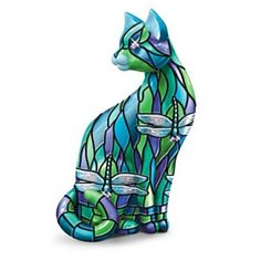 Treat yourself to a touch of elegance with a first-ever stained-glass art inspired cat figurine based on the world-renowned Art Nouveau stained-glass artwork of Louis Comfort Tiffany. Description from petcollectables.com. I searched for this on bing.com/images