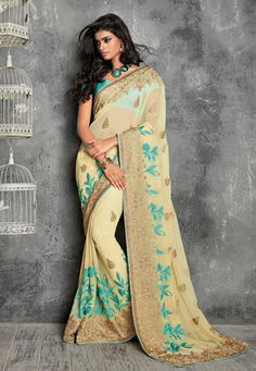Beige Faux Chiffon Saree with Blouse