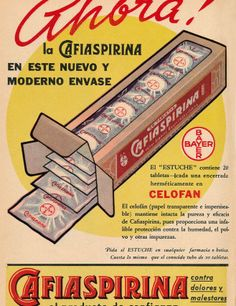 Cartel publicitario de Cafiaspirina Bayer, Chile año 1949