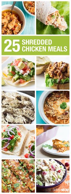 25 Meals To Make With Shredded Chicken Chock out these 25 healthy chicken meals. More from my Healthy Mason Jar Salads Healthy Chicken Recipes, Clean Recipes, Crockpot Recipes, Healthy Snacks, Vegetarian Recipes, Healthy Eating, Cooking Recipes, Chicken Meals, Organic Recipes