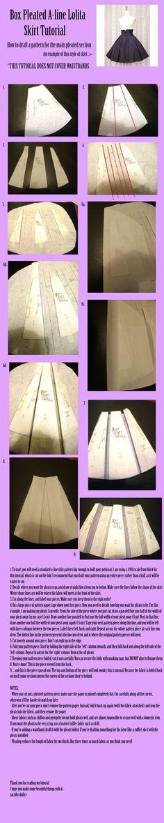 Box Pleated A Line Lolita Skirt Tutorial skirt diy craft crafts diy crafts craft fashion