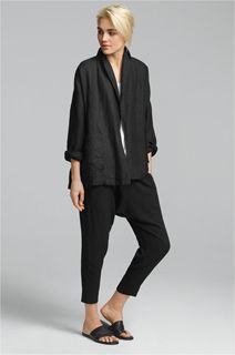 EILEEN FISHER Spring Icons Collection: Linen Shawl Collar Jacket + Long Tank + Silk Drawstring Pant
