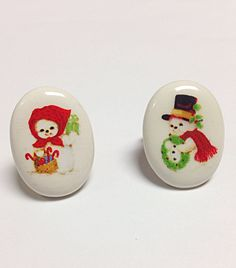 Snow man and snow woman ring christmas ring holiday by PokeysWorld