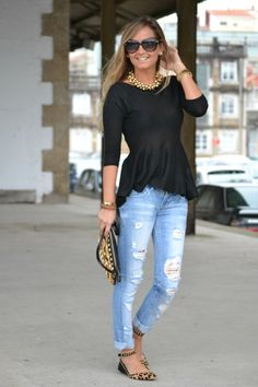 peplum. distressed jeans. leopard. smile & shades :)