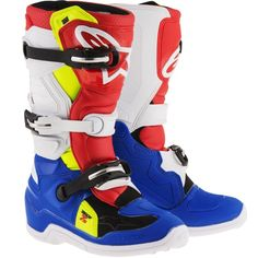 Alpinestars 2017 TECH 7S MX Boots Blue / White / Red / Fluo Yellow - V1mx