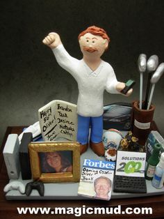 50th Birthday Gift for a Husband Personalized for Dad by www.magicmud.com 1 800 231 9814 creating a custom made gift figurine for Dad based on the things he likes to do! ...incorporating his work, sports, family, hobbies, food, drink, electronic gadgets, etc. $225 #dad #men #guys #christmas #birthday #anniversary #custom #personalized #xmas #present #award #ChristmasGift #BirthdayGift #husband #boyfriend #uncle