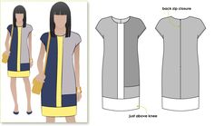 Trendy colourblocked woven shift dress with short sleeve style arc