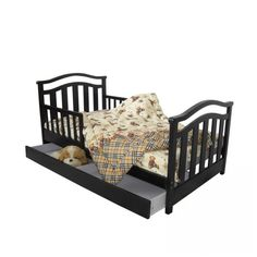 Dream On Me Elora Toddler Bed with Storage Drawer in Espresso - 650-E