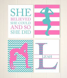 Pre teen girls wall art, gymnastics wall art, girls gymnast, monogram wall art, motivational art, choose your sports and colors, set of 4 by PicabooArtStudio
