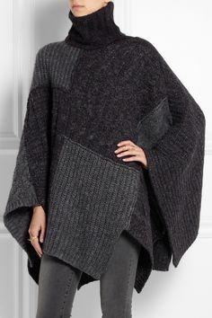 Étoile Isabel Marant|Raquel patchwork knitted cape|NET-A-PORTER.COM