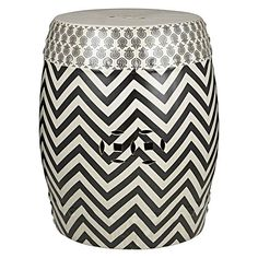 Black and white chevron ceramic stool from Amalfi.
