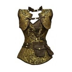 GE-265 Long Brown and Gold Brocade Pattern Steampunk Corset with Matching Jacket