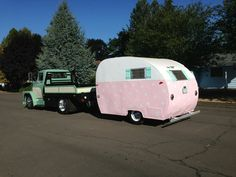 Polky - 1948 Aljoa (towed by 1961 Dodge) Pink vintage travel trailer.