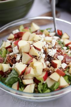 Amazing Bacon, Apple Raspberry Vinaigrette Salad! It has bacon, apples, walnuts, and feta cheese (lots of apples, modest bacon - crunchy/sweet/salty/protein/Omega 3s)