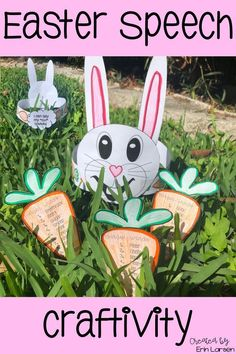 This fun speech craft activity is perfect for Easter and Spring. Speech articulation targets include f, v, k, g, j, l, r, vocalic r, th, sh, and ch. Easy print-n-go pages.  No prep/low prep. Homework carrot word lists to send home for articulation carryover. FUN and EASY spring speech activities. Click for more info.