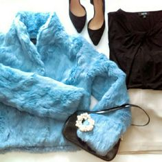 Beautiful VTG Baby Blue Fur Jacket In the 90's, Express had a section for high priced lux items in a flagship test store in Atlanta. Coat is RARE & only a small amount were made. I was in college & this was my first luxury purchase, only worn 3'xs! Its still one of my most precious & loved items but its too small now. 20 yrs old great condition & now officially VINTAGE! Made from beautiful, long REAL Rabbit Fur. So warm & luxurious. #screamqueen Fits 6-10 Best  Make Me an Offer Paid $550 in…