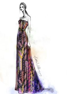 Fashion illustration sketch by Matthew Williamson - strapless, chiffon floral print gown from Pre Spring 2013 collection #HarrodsInsideTheStudio with Matthew Williamson harrods.com
