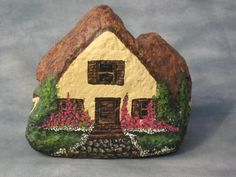 English cottage painted rock, (photo only)